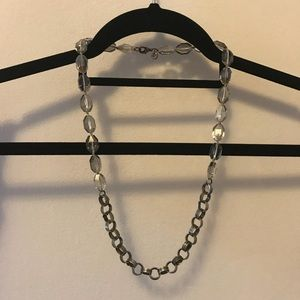 LOFT silver links and clear bead necklace